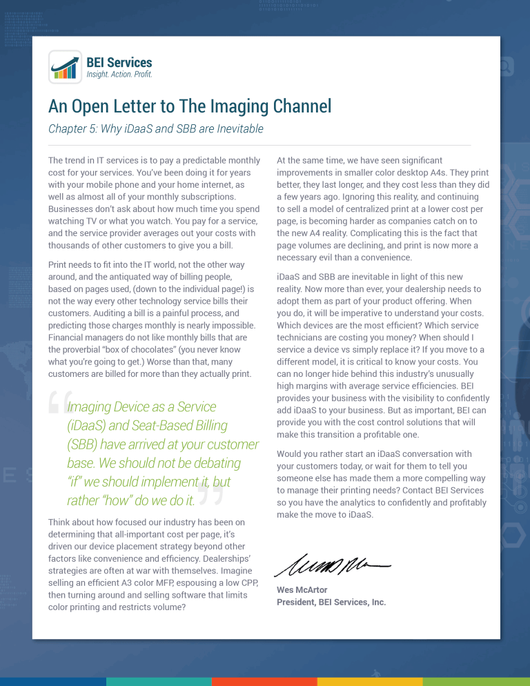 Imaging Channel OPEN LETTER SERIES: CHAPTER 5